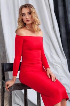 Красное платье с открытыми плечами RUXARA со скидкой