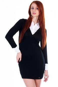 Черное платье с белым воротником и манжетами Mondigo