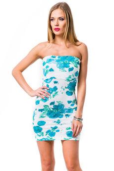 Обтягивающее платье бандо с голубыми цветами Mondigo