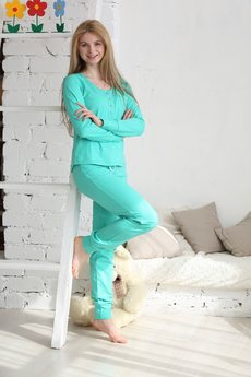 Пижама из 100% хлопка: брюки с кулиской и кофта FIORITA